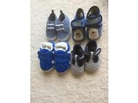 4 pairs of baby boy shoes/slippers excellent condition