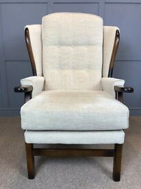 High Wing Back Armchair Easy Chair Cream / Beige - 2 Available - UK Delivery Available