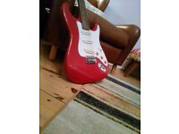 Encore ST Strat 6 string Electric Guitar, Cherry apple red