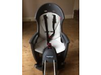 HAMAX Smiley - Frame Mount Rear Child Bike Seat Carrier (Grey/White) with lockable bracket + extras