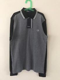 Fred Perry Long Sleeve Black with Grey chest Polo Shirt Small BNWT