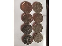 Selection of 50p 50 pence coin coins