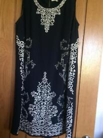 NEXT Size 12 silk embroidered shift dress