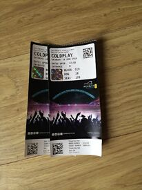 2 COLDPLAY tickets Sat 18th June