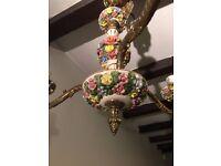 Vintage Ceiling Chandelier 3-Arm Ceramic Brass Floral Italian Antique Capodimonte Style
