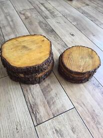 Real wooden log disc's