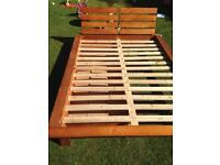 Pinewood double bed and mattress
