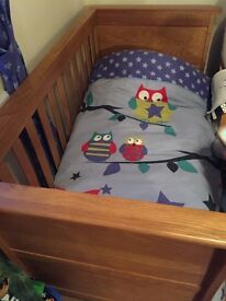 Mamas and Papas Ocean Cot bed and changing unit in Golden Oak