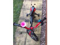 Vega kids pedal cycle bike with stabilisers