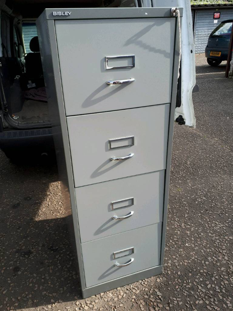 Bisley four drawer metal filing cabinet. Delivery available