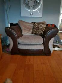 Sofa, arm chair and foot stool
