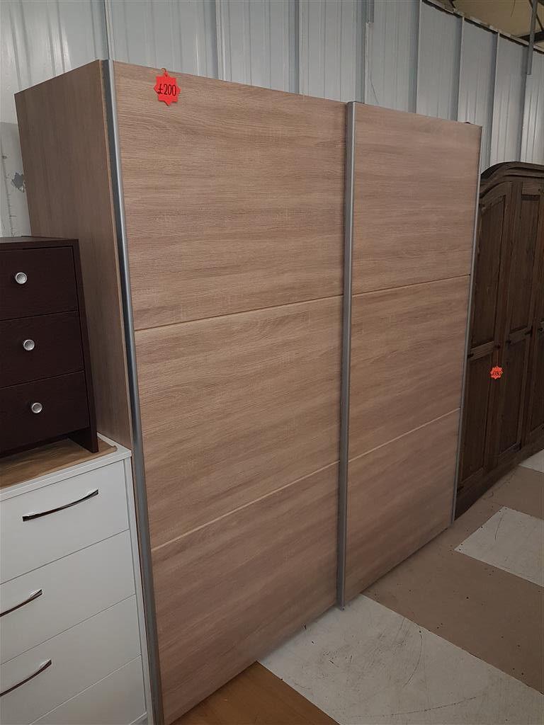 Hygena Bergen 2 Door Large Sliding Wardrobe Oak Pleace