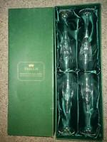 Trellis Lead Crystal Champagne Flutes (4), never been used