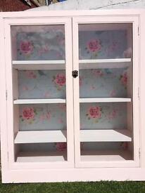 Vintage Pink Chalk Paint Glass Cabinet