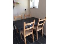 Dining table and chairs from IKEA