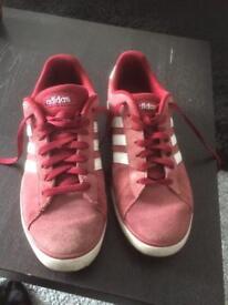 Adidas burgundy trainers . Size 8