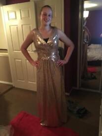 Sequin rose gold bridesmaid dress