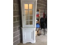 LOVELY SHABBY CHIC SINGLE CORNER DISPLAY CABINET - ANNIE SLOAN OLD WHITE