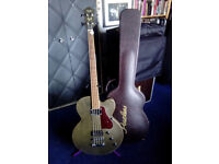 PEERLESS SMOKED BASS GUITAR and shaped case.