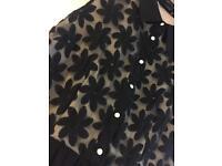 OASIS BLACK CHIFFON/LACE DRESS