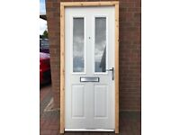 BRAND NEW COMPOSITE FRONT DOOR WITH FRAME, CHROME HANDLES, LETTERBOX, SPY HOLE & 3 KEYS