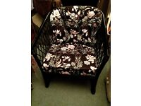 WHICKER ARMCHAIR WITH 2 CUSHIONS, 'DANEWOOD LEISURETIME'