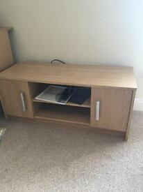 TV Cabinet - Oak Style, compact, 2 shelves, 2 cupboards
