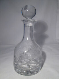 Vintage Heavy Plain Crystal Decanter with Etched Floral Design.