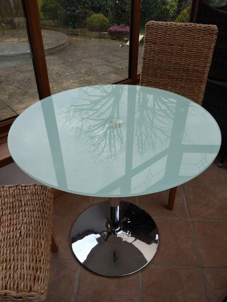 Round glass dining table 80cm diameter | in Birkenhead, Merseyside ...