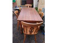 Pine Farmhouse table chairs