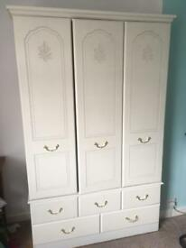 White 3 door wardrobe with 5 draws