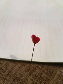 Long heart topped pins
