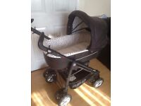 BABYSTYLE PRESTIGE 3SD LEATHERETTE PRAM PUSHCHAIR TRAVEL SYSTEM EXCELLENT CONDITION LOTS OF EXTRAS