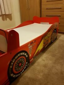 A car character todler bed with matress