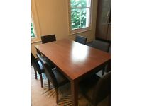150cm Dining Table and 6 chairs