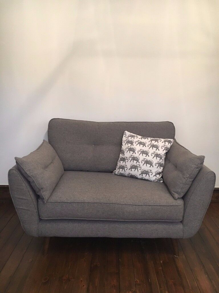 French Connection zinc grey 3-seater sofa and 2-seater cuddler chair, 18 months old, great condition