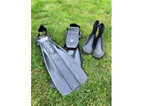 Cressi diving fins and boots