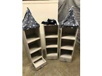 4 PIECE (x3 fabric tops) CASTLE STYLE CHILDRENS BOOK SHELF DRAWERS TRINKET WALL OR FREE STANDING
