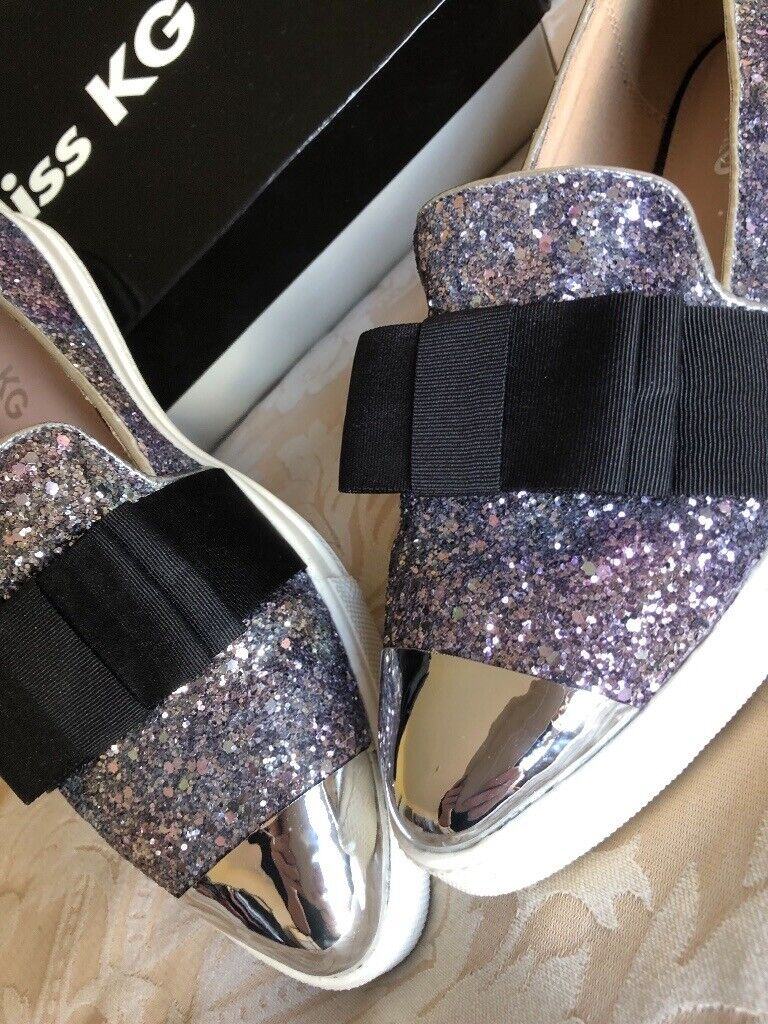 fcca53992 Kurt Geiger loafers trainers silver glitter RRP £69 flat pointed bow shoe