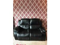 2 Seater Black Leather Recliner Sofa / Couch