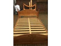 Solid pine king size bed with clean mattress