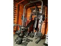 Smith machine, pulley, pec deck, bench, 140 kg weights, EZ bar, extras