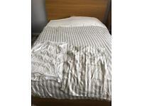 King size white stripe 100% cotton duvet cover