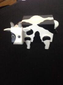 Wooden cow money box