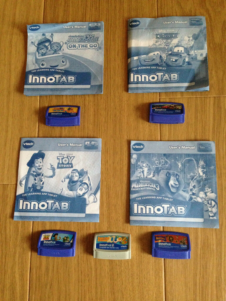 V-Tech learning app Innotab 2 games, 2 mains chargers (5 games in total)