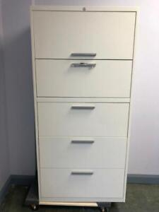 Teknion 5 Drawer Lateral Filing Cabinet - White - 30W