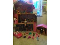 Barbie house, horses,stable,dolls and clothing bundle