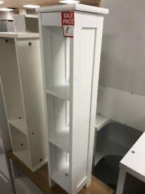 tall white bathroom unit