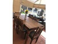 Rustic oak wood dining table 6 chairs
