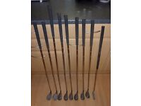 A set of Spalding golf irons suitable for the 'improver' player.